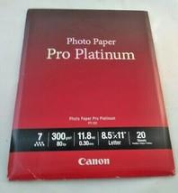 "Canon Pro Platinum High-Gloss Photo Paper (8.5x11""), 20 Sheets FREE SHIPPING - $19.99"