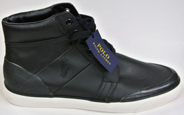 NEW Men's 12 POLO Ralph Lauren Black 100% LEATHER High-top PONY Sneaker ... - $69.99