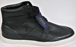 New Men's 12 Polo Ralph Lauren Black 100% Leather High-top Pony Sneaker Shoe - $69.99