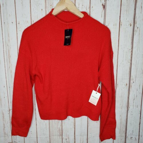 Primary image for Forever 21 Womens crop sweater top Red Size Mediun New With Tags Soft