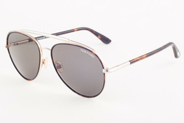 Tom Ford CURTIS Rose Gold Havana / Green Aviator Sunglasses TF748 52N 59mm - $224.42