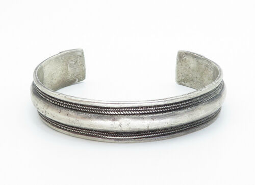 925 Sterling Silver - Vintage Antique Etched Wheat Detail Cuff Bracelet - B5804