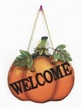 Pumpkin Welcome Wood Sign Wall Décor Thanksgiving Fall Halloween Decoration - $12.05