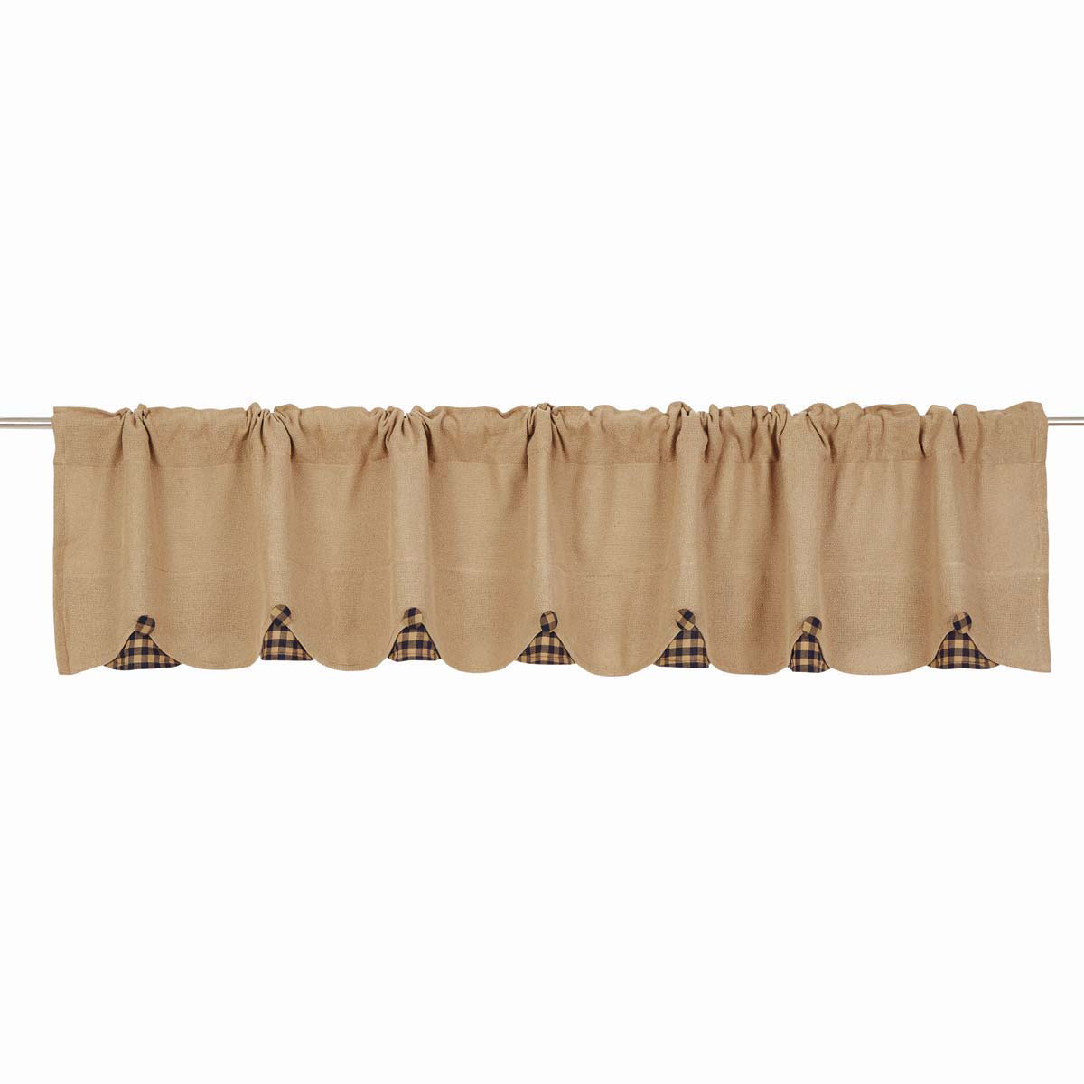 BURLAP NATURAL Valance w/Navy Check - 16x90 - Country Farmhouse - VHC Brands