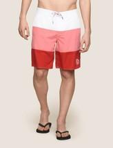 Armani Exchange Authentic Colorblock Circle Logo Swim Shorts Pink/Red Nwt - $51.98
