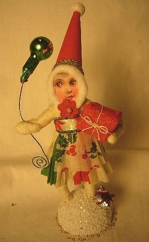 Vintage Inspired Spun Cotton Christmas Girl Ornament No. 83G