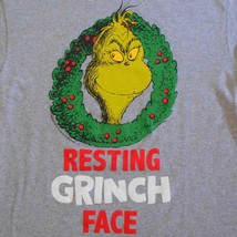 Mens Funny Christmas T Shirt Resting Grinch Face Gray Size L - $19.79