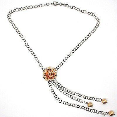 Collar Plata 925 Negro y Rosa, Cadena Rolo, Flor Rosa , Esferas Colgantes