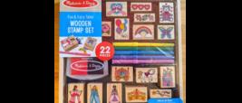 Melissa & Doug Wooden Stamp Set Fun & Fairy Tales New 22 Pieces - $15.67