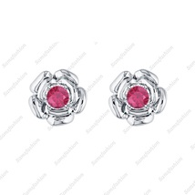 Rose Flower Earring Ruby 14k White gold Over. 925 Sterling Silver for Womes - $39.99