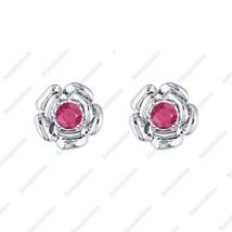 Rose Flower Earring Ruby 14k White gold Over. 925 Sterling Silver for Womes - $35.99