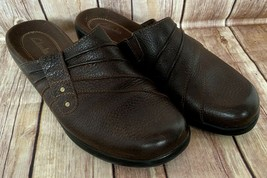 Clarks Dark Brown Pebbled Leather Slip-On Mules Clogs Shoes 7.5M - $19.59