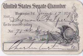 VICE PRESIDENT CHARLES CURTIS 1929 SIGNED SENATE PASS - VP under Herbert... - $198.00