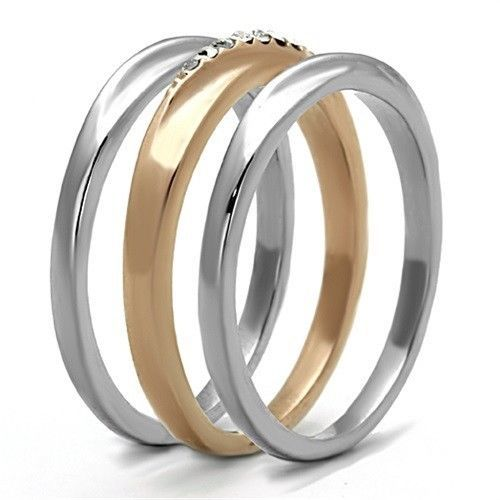 HCJ Rose Gold Tone Stainless Steel Top Grade Crystal 3 Ring Set - SIZE 9, 10