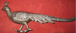 Vintage Pewter Peacock Long Trailing Tail Figurine Statuette Miniature Italy image 2