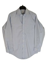 Brooks Brothers Mens 14.5 32 All Cotton Non Iron Slim Fit Blue Dress Shirt - $13.10