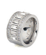 Women Mens Ring Stainless Steel Wedding Cubic Zirconia Party Jewelry Size - $17.40