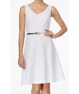 Connected Apparel White Womens  Lace-Overlay Belted Sheath Dress Size 10 - $20.78