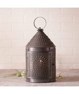 Country new large FIRESIDE aged blacken punched tin table lantern light... - $79.12