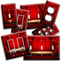 RETRO MOVIE THEATRE RED CURTAINS LIGHT SWITCH OUTLET WALL PLATE HOME TV ... - $10.99+
