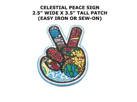 PEACE SIGN iron-on patch WOODSTOCK SUMMER OF LOVE black EMBROIDERED APPL... - $12.00