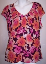 JM Collection Top XL Floral Nylon Stretch Knit Shirt Blouse Women's Extra Large - $15.70
