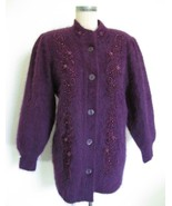 Vintage Lee Sands Angora Cardigan Sweater Jacket Pearls Embroidery One S... - $49.99