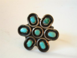 Vintage Navajo Sterling Silver Turquoise Ring Multi Stone Flower Pawn sz 6 - €46,79 EUR