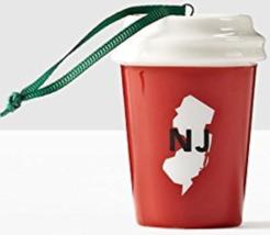 Starbucks 2016 New Jersey NJ Red Ceramic Cold Cup Tumbler Ornament NEW - $24.38