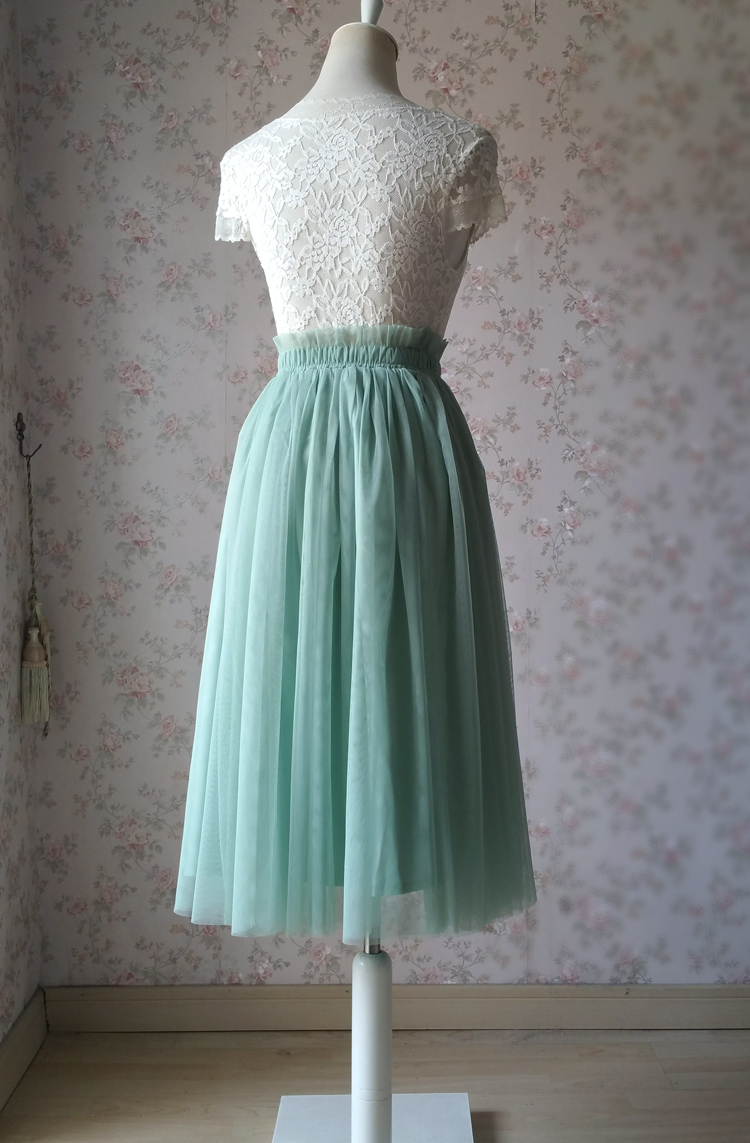 Sage green tulle midi skirt 750 03