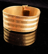 AWESOME Gold bracelet / Signed Amerikana A D / Gold filled Mesh / Andrea... - $325.00