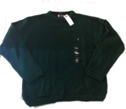 Chaps Ralph Lauren Mens Sweater Green Knit Cotton Crewneck Pullover Large L E57 - $14.50
