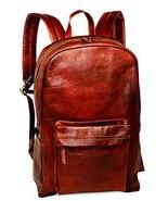 """18"""" Brown Leather Backpack Vintage Rucksack Laptop Bag Water Resistant C... - $50.49"""
