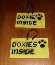 Brand New Handmade Needlepoint Pet Emergency Sign DOXIE DOXIES Dachshund... - $8.49