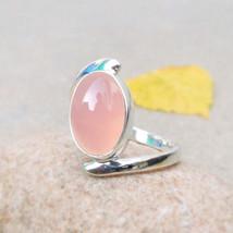 Rose Quartz Ring Natural Quartz Ring crystal healing stone rose quartz o... - $36.78