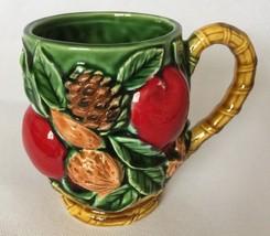 INARCO Japan Mug Raised Apples Fruit Nuts Pine Cones Leaves Vintage 1960... - $26.99