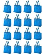 16 X IKEA BLUE FRAKTA MEDIUM BLUE SHOPPING LAUNDRY STORAGE BAG 10 GALLON - $32.66