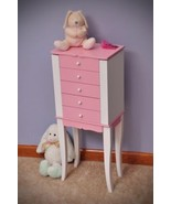 Girls Jewelry Armoire Pink White Chest Cabinet Mirror Bedroom Storage Stand - $173.24