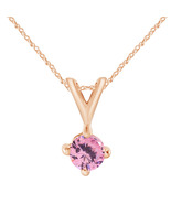 14k Solid Rose Gold 0.50 Ct Round Cut Sapphire Solitaire Pendant With 18... - $171.70