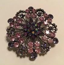 Vintage Antiqued Silver Tone Purple Aurora Borealis Rhinestone Brooch Pe... - $19.75