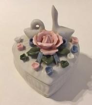 Heart Rose Flowers Swan Birds Trinket Jewelry Treasure Box Jar White Por... - $28.00