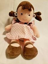 Carters Child of Mine Girl Doll Brown Pink Polka Dot Dress Brunette Pigtails - $19.78