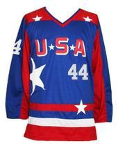 Custom Name # Team USA Retro Hockey Jersey New Sewn Blue Reed #44 Any Size image 1