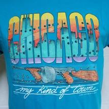 VTG 1986 Chicago Tourist T Shirt Gangster 80s Tee Gun Bullet Crime 50/50 Large - $54.99