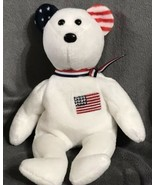 """Retired Ty Beanie Baby """"America"""" USA Red Cross Toy Bear- White Version Gift - $20.11"""