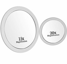 Mirrorvana 15X & 20X Spot Magnifying Mirror Set with Suction Cups - Comp... - $27.54