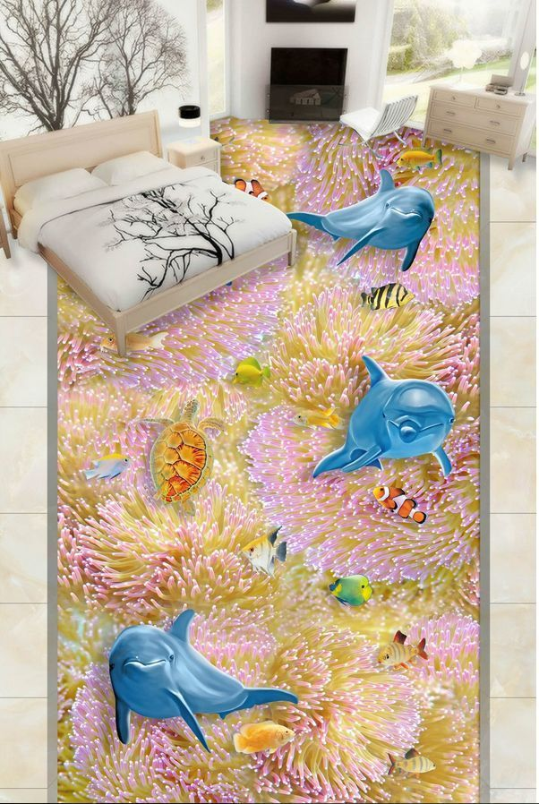 3D stone life fish 3431 Floor WallPaper Murals Wall Print Decal 5D AJ WALLPAPER