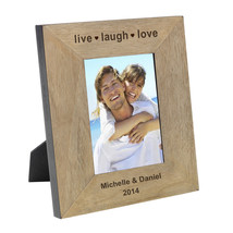 Live Love Laugh, Personalised Wood Photo Frame Valentines Gift for Him o... - $22.19