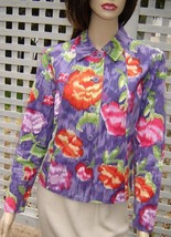 COLDWATER CREEK Muted Purple Floral Boxy Cotton Jacket (XS) NEW - $29.30