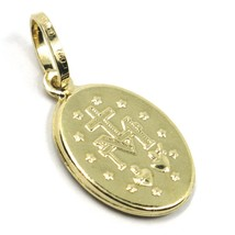 18K YELLOW GOLD MIRACULOUS MEDAL VIRGIN MARY MADONNA, 1.5 CM, 0.6 INCHES image 2